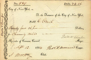 GOVERNOR DEWITT CLINTON - MANUSCRIPT DOCUMENT SIGNED 09/12/1814