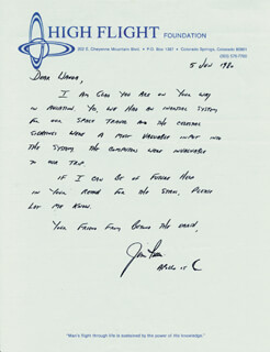 Autographs: COLONEL JAMES B. JIM IRWIN - AUTOGRAPH LETTER SIGNED 06/05/1980