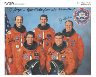 Autographs: CAPTAIN MICHAEL L. COATS - INSCRIBED PHOTOGRAPH SIGNED CO-SIGNED BY: COLONEL JAMES F. BUCHLI, COLONEL JOHN E. BLAHA, JAMES P. BAGIAN, COLONEL ROBERT C. SPRINGER