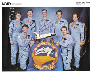 SPACE SHUTTLE DISCOVERY - STS - 51G CREW - PRINTED PHOTOGRAPH SIGNED IN INK CO-SIGNED BY: CAPTAIN JOHN O. CREIGHTON, CAPTAIN DANIEL C. BRANDENSTEIN, COLONEL JOHN M. FABIAN, COLONEL STEVE NAGEL, SHANNON W. LUCID