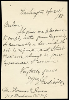 WILLIAM C. ENDICOTT - AUTOGRAPH LETTER SIGNED 04/12/1888