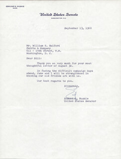 EDMUND S. MUSKIE - TYPED LETTER SIGNED 09/13/1968