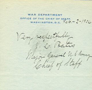 MAJOR GENERAL JAMES C. BATES - AUTOGRAPH SENTIMENT SIGNED 02/02/1906