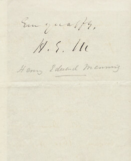 HENRY EDWARD CARDINAL MANNING - AUTOGRAPH LETTER SIGNED 02/04/1846