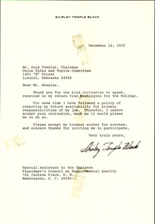 SHIRLEY TEMPLE - TYPED LETTER SIGNED 12/12/1972