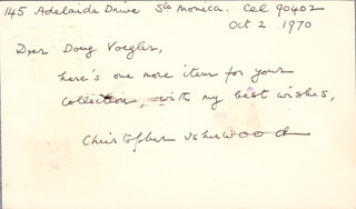 Autographs: CHRISTOPHER ISHERWOOD - AUTOGRAPH NOTE SIGNED 10/02/1970