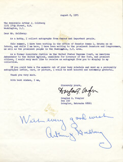 Autographs: ASSOCIATE JUSTICE ARTHUR J. GOLDBERG - AUTOGRAPH NOTE SIGNED 08/08/1971