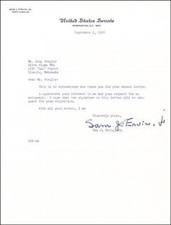 SAMUEL J. SAM ERVIN JR. - TYPED LETTER SIGNED 09/01/1970