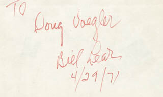 WILLIAM P. LEAR - INSCRIBED SIGNATURE 04/29/1971
