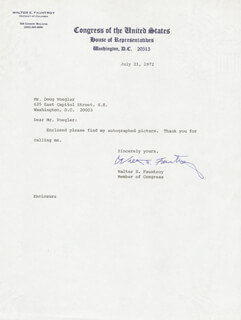 Autographs: WALTER E. FAUNTROY - TYPED LETTER SIGNED 07/21/1972