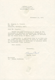 RAMSEY CLARK - TYPED LETTER SIGNED 11/19/1971