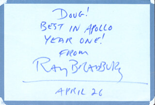 RAY BRADBURY - AUTOGRAPH POST CARD SIGNED 04/26/1970