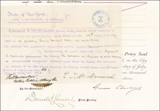 PRESIDENT GROVER CLEVELAND - DOCUMENT SIGNED 07/20/1883 CO-SIGNED BY: DANIEL S. LAMONT