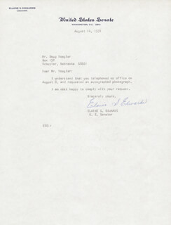 ELAINE S. EDWARDS - TYPED LETTER SIGNED 08/14/1972