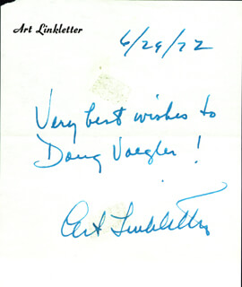 ART LINKLETTER - AUTOGRAPH NOTE SIGNED 06/29/1972