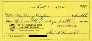 LOUIS B. RUSSELL JR. - AUTOGRAPHED SIGNED CHECK 09/07/1970