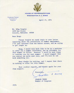 CHARLES THONE - TYPED LETTER SIGNED 04/27/1971
