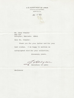 Autographs: JAMES D. HODGSON - TYPED LETTER SIGNED 07/02/1970