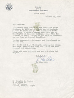 Autographs: E. ROSS ADAIR - TYPED LETTER SIGNED 10/15/1971
