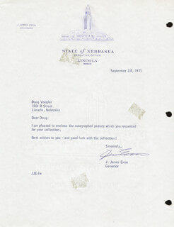 GOVERNOR J. JAMES JIM EXON - TYPED LETTER SIGNED 09/24/1971