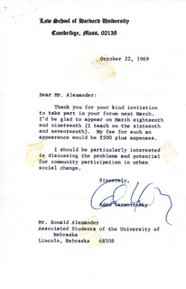 ADAM YARMOLINSKY - TYPED LETTER SIGNED 10/22/1969