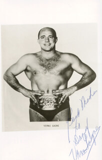 Autographs: VERNE GAGNE - INSCRIBED PRINTED PHOTOGRAPH SIGNED IN INK CIRCA 1970