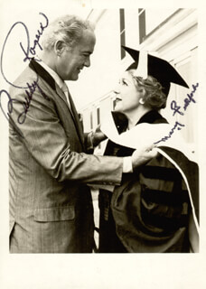 MARY PICKFORD - AUTOGRAPHED SIGNED PHOTOGRAPH CIRCA 1961 CO-SIGNED BY: CHARLES BUDDY ROGERS