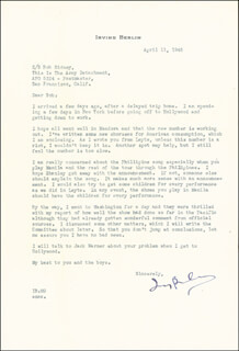 Autographs: IRVING BERLIN - TYPED LETTER SIGNED 04/11/1945