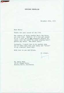 Autographs: IRVING BERLIN - TYPED LETTER SIGNED 12/29/1972