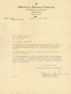 GOVERNOR HERBERT H. LEHMAN - TYPED LETTER SIGNED 09/13/1928