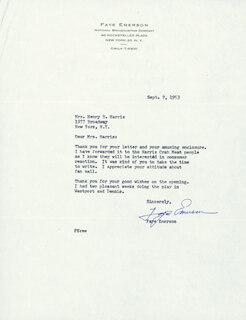 FAYE EMERSON ROOSEVELT - TYPED LETTER SIGNED 09/02/1953