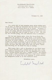 ARCHIBALD MacLEISH - TYPED LETTER SIGNED 11/21/1968