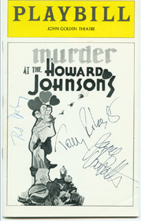 MURDER AT THE HOWARD JOHNSON'S BROADWAY CAST - SHOW BILL SIGNED CO-SIGNED BY: TONY (ANTHONY) ROBERTS, BOB DISHY, JOYCE VAN PATTEN