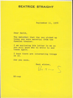 BEATRICE STRAIGHT - TYPED LETTER SIGNED 09/11/1978
