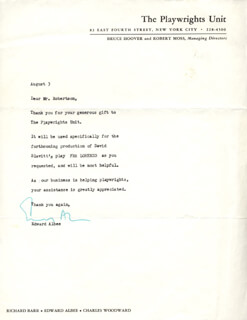 Autographs: EDWARD ALBEE - TYPED LETTER SIGNED 8/3