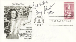AMY S. ALCOTT - FIRST DAY COVER WITH AUTOGRAPH SENTIMENT SIGNED 3/1982
