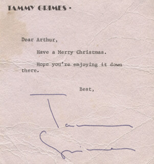 TAMMY GRIMES - TYPED NOTE SIGNED