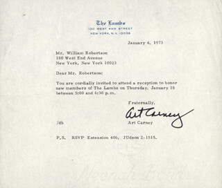ART CARNEY - TYPED LETTER SIGNED 01/04/1973