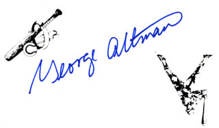 Autographs: GEORGE ALTMAN - PRINTED CARD SIGNED IN INK
