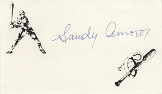 SANDY AMOROS - PRINTED CARD SIGNED IN INK
