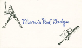 MORRIS RED BADGRO - PRINTED CARD SIGNED IN INK