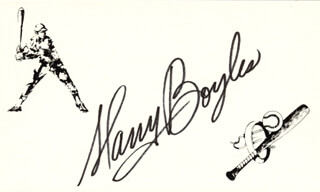 HARRY STRETCH BOYLES - PRINTED CARD SIGNED IN INK