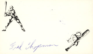 FRED (WILLIAM FRED) CHAPMAN - PRINTED CARD SIGNED IN INK