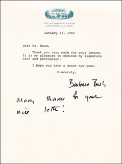 Autographs: FIRST LADY BARBARA BUSH - TYPED LETTER SIGNED 01/22/1982