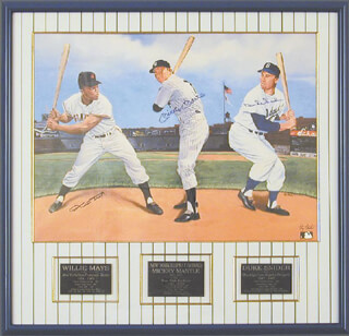 MICKEY MANTLE - PRINTED ART SIGNED IN INK CO-SIGNED BY: FLIP AMATO, WILLIE SAY HEY KID MAYS, DUKE SNIDER