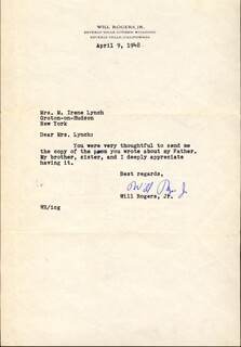 WILL ROGERS JR. - TYPED LETTER SIGNED 04/09/1948