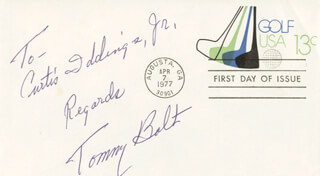 TOMMY BOLT - FIRST DAY COVER WITH AUTOGRAPH SENTIMENT SIGNED