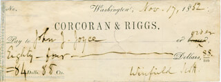 LT. GENERAL WINFIELD SCOTT - AUTOGRAPHED SIGNED CHECK 11/17/1852