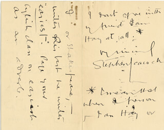 STEPHEN LEACOCK - AUTOGRAPH LETTER SIGNED 03/16/1926