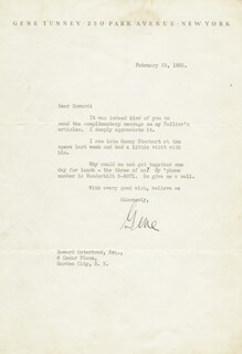 GENE TUNNEY - TYPED LETTER SIGNED 02/25/1932